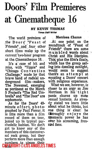 Doors Film Premieres at Cinematheque 16