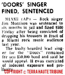 Doors Singer Fined Sentenced