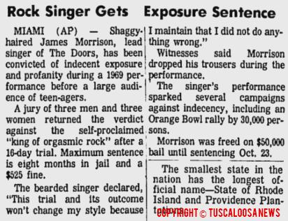 Rock Singer Gets Exposure Sentence