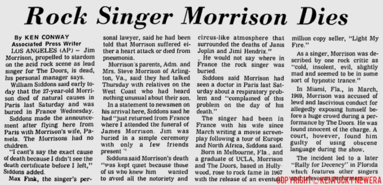 Rock Singer Morrison Dies