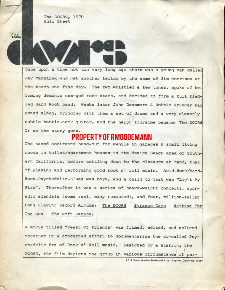 Bull Sheet 1970
