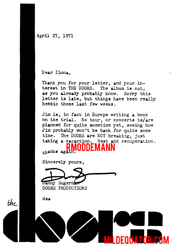 Danny Sugerman Fan Letter 1971