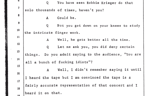 Jim Morrison's Miami Testimony