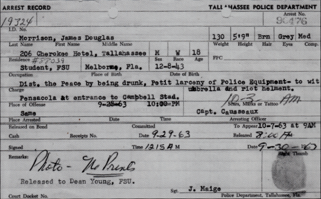 Jim Morrison Tallahassee Police Report