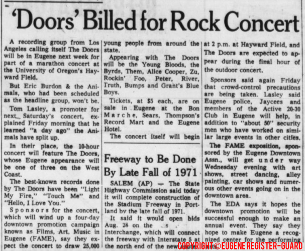 The doors eugene pop festival hayward field 1969