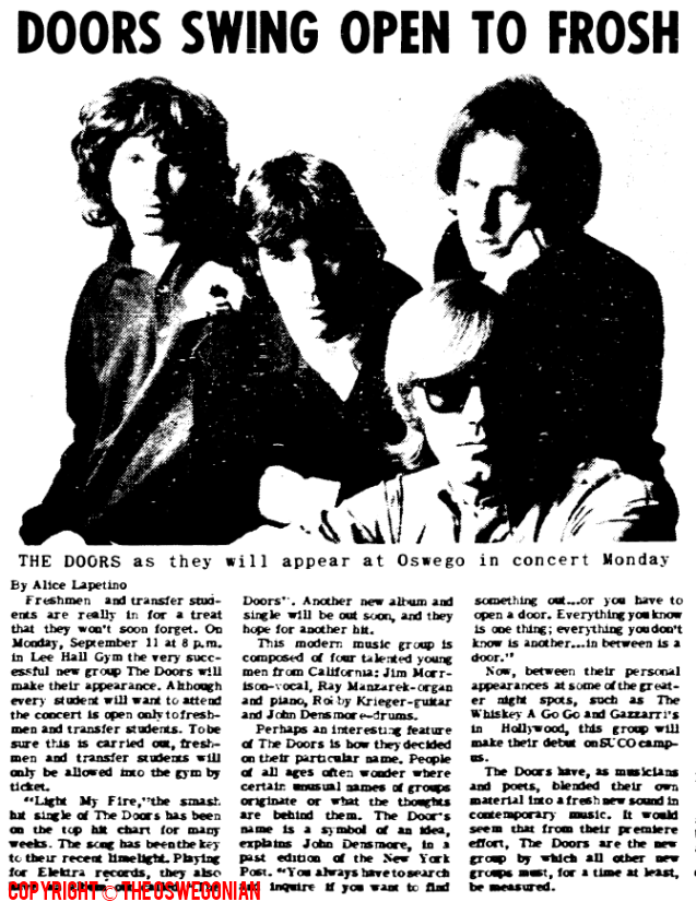 sc 1 st  MildEquator.com & The Doors | Oswego - S.U.N.Y Oswego Lee Hall 1967