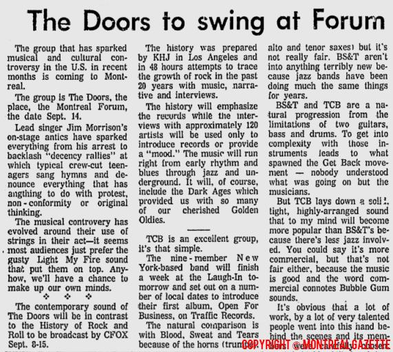 Montreal Forum - Article  sc 1 st  MildEquator.com & The Doors | Montreal Forum 1969