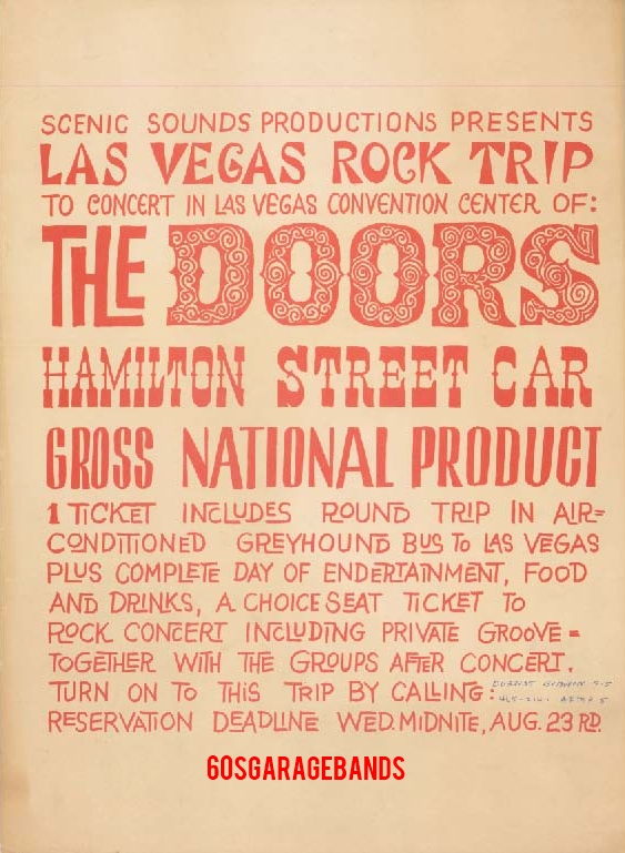 The Doors - Las Vegas Convention Center 1967 - Reservation Flyer