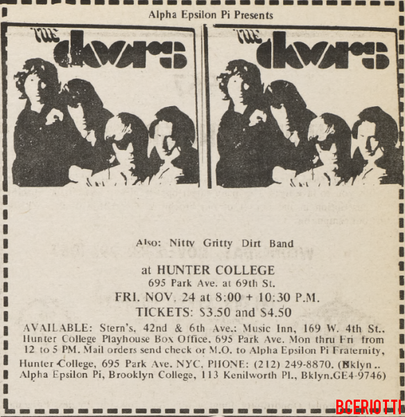 The Doors - Hunter College 1967 - Print Ad