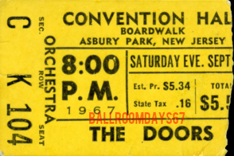 The Doors - Asbury Park 1967 - Ticket