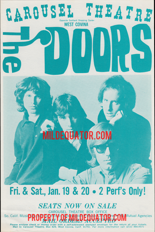 The Doors - Carousel Theatre 1968 - Handbill