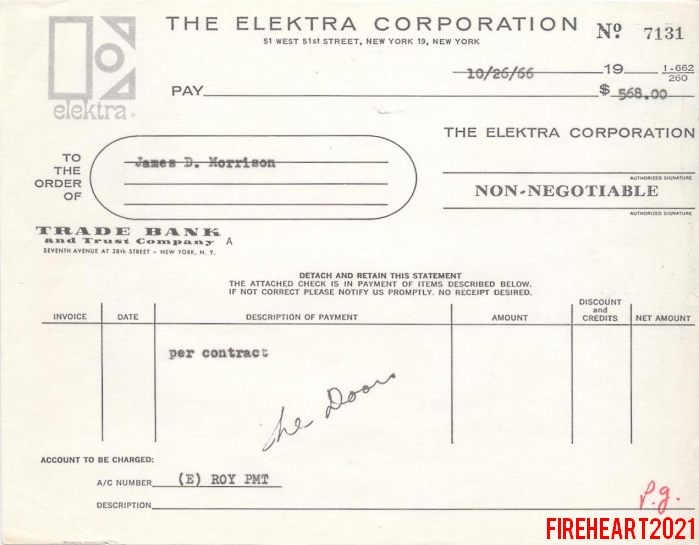 Jim Morrison - 1966 Pay Stub