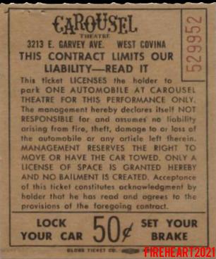 The Doors - Carousel Theatre 1968 - Parking Ticket