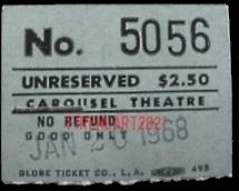 The Doors - Carousel Theatre 1968 - Ticket