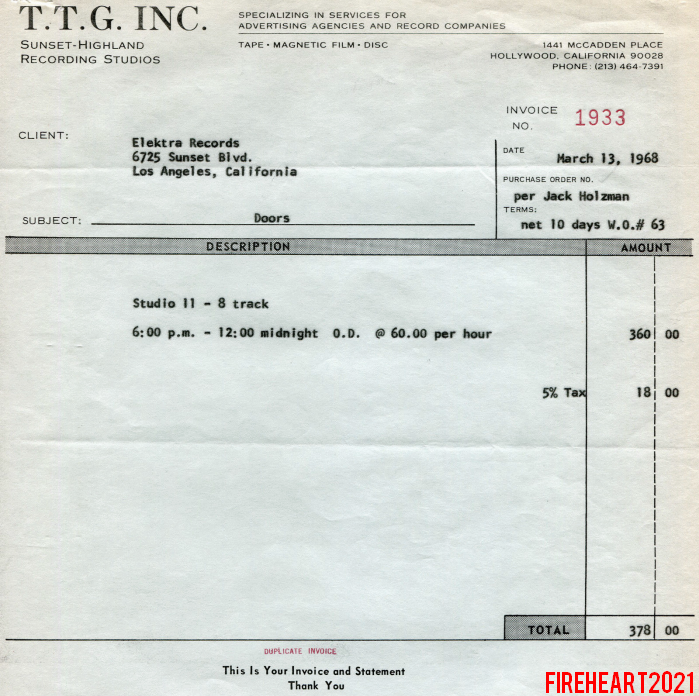 The Doors Official Elektra Documentation - Recording studio invoice