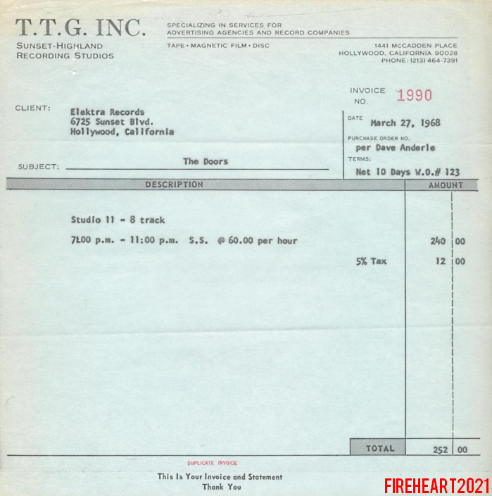 Sunset Sound Invoice