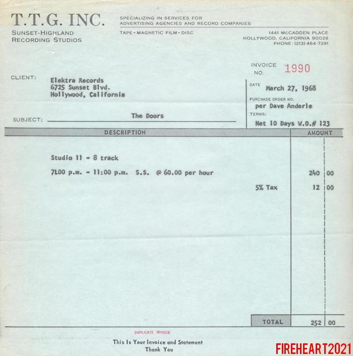TTG Studios Invoice