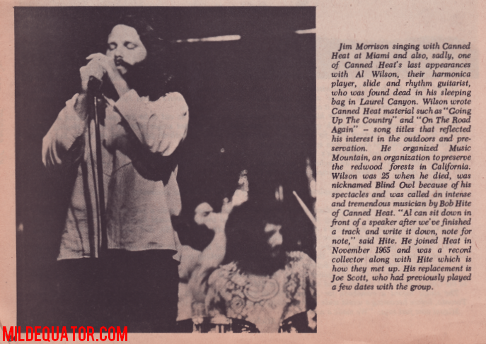 Jim Morrison and Canned Heat - The Hump 1970 - Magazine Article