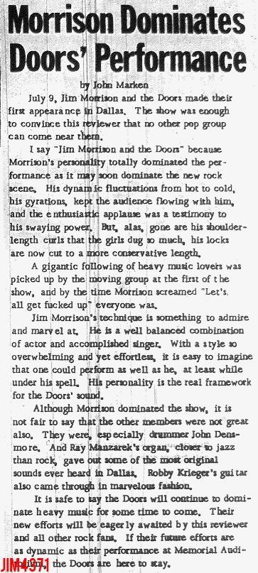 Morrison Dominates Doors' Performance