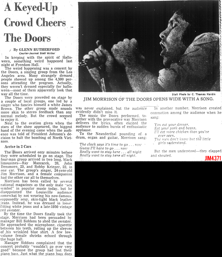 Louisville 1968   Review. The Doors   Louisville   Freedom Hall 1968