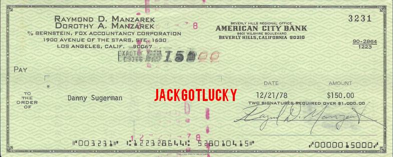 Ray Manzarek Check