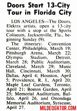 The Doors - Jacksonville 1969 - Schedule