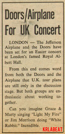 Doors/Airplane Set For UK Concert
