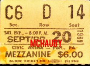 Pittsburgh 1969 - Ticket