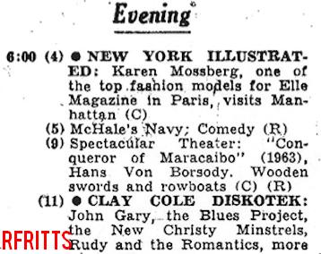 Clay Cole's Diskotek 1967 - TV Listing