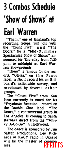 Earl Warren Showgrounds July 1966 - Article
