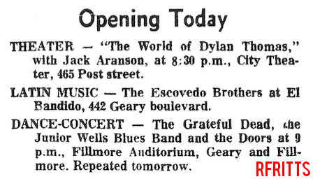 Fillmore January 1967 - Type Ad