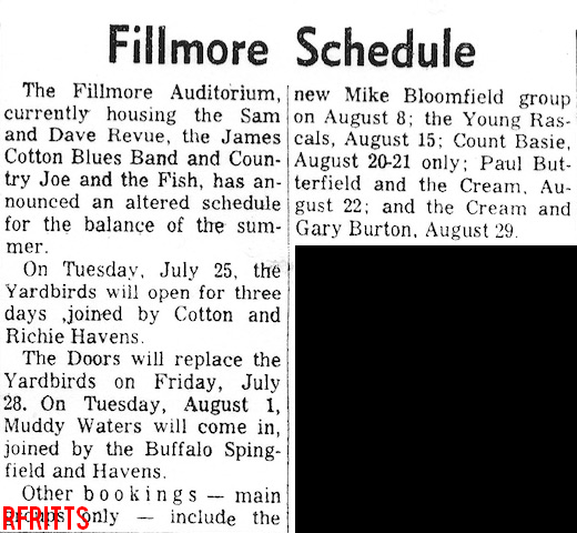 Fillmore July 1967 - Article