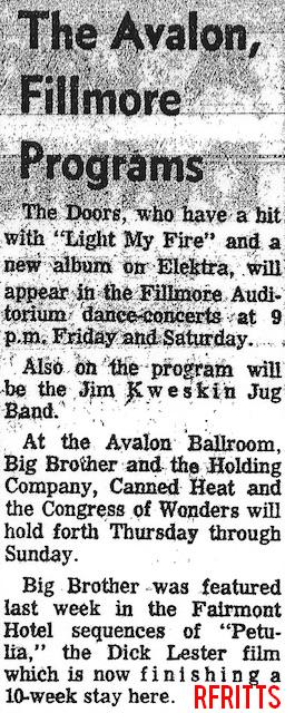 Fillmore Auditorium June 1967 - Article