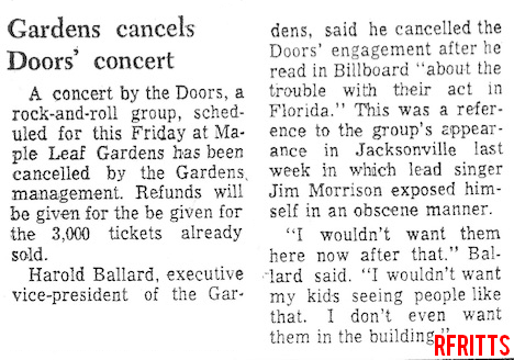 Toronto 1969 Cancelled - Article