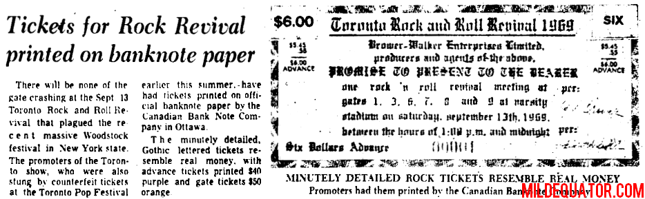 The Doors - Toronto Rock n' Roll Revival - Banknote Article
