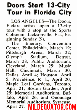 The Doors 1969 Tour Cancelled